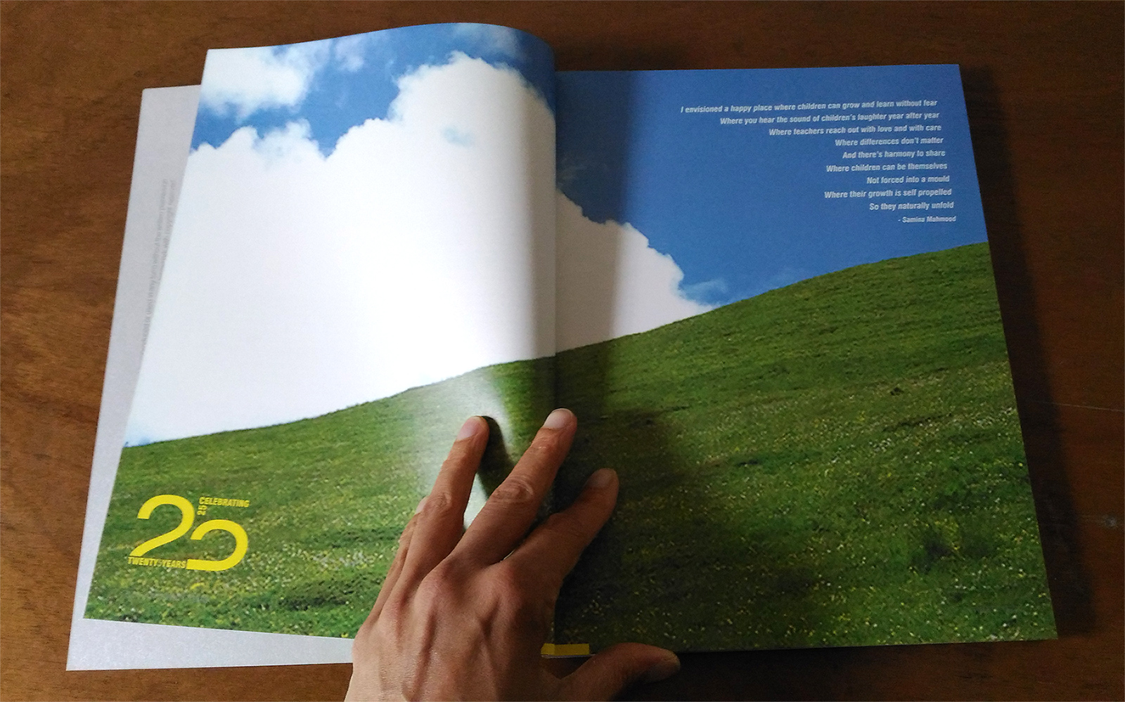 Head Start Montessori House of Children, book celebrating 25 years. Inner spread.