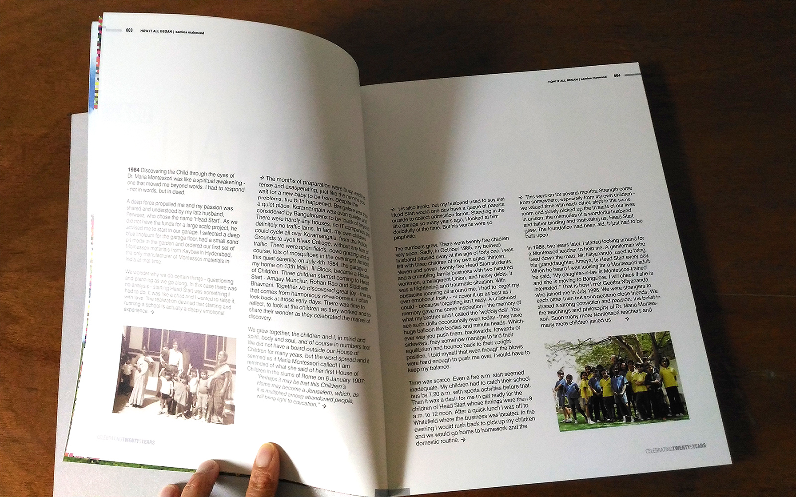 Head Start Montessori House of Children, book celebrating 25 years. Story spread.